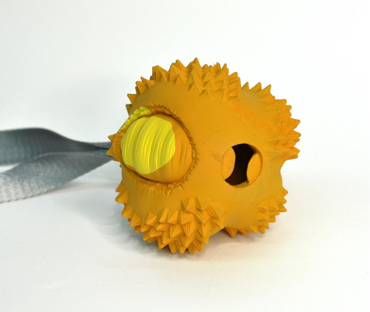 """Игрушка резиновая Дуриан (с лентой) - размер S, оранжевый, серия """"Неубивахи""""   8*7,5*9 см"""