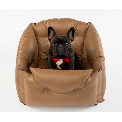Автокресло для перевозки собак   | коричневое