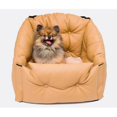 Автокресло для перевозки собак  | бежевое