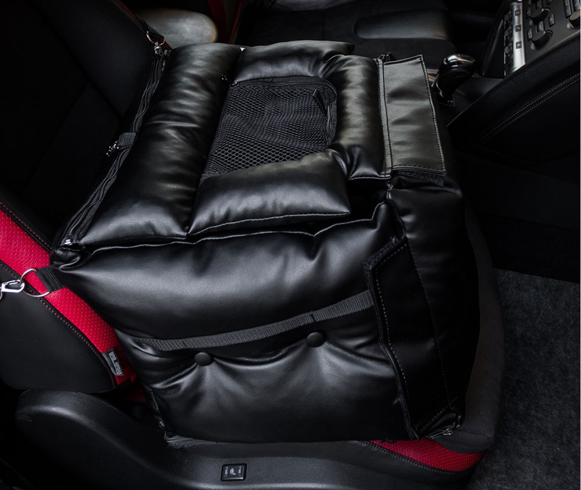 Автокресло переноска для собак и кошек в машину, самолет | черное