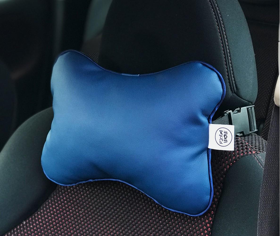 Подушка для шеи на подголовник в машину  | синяя