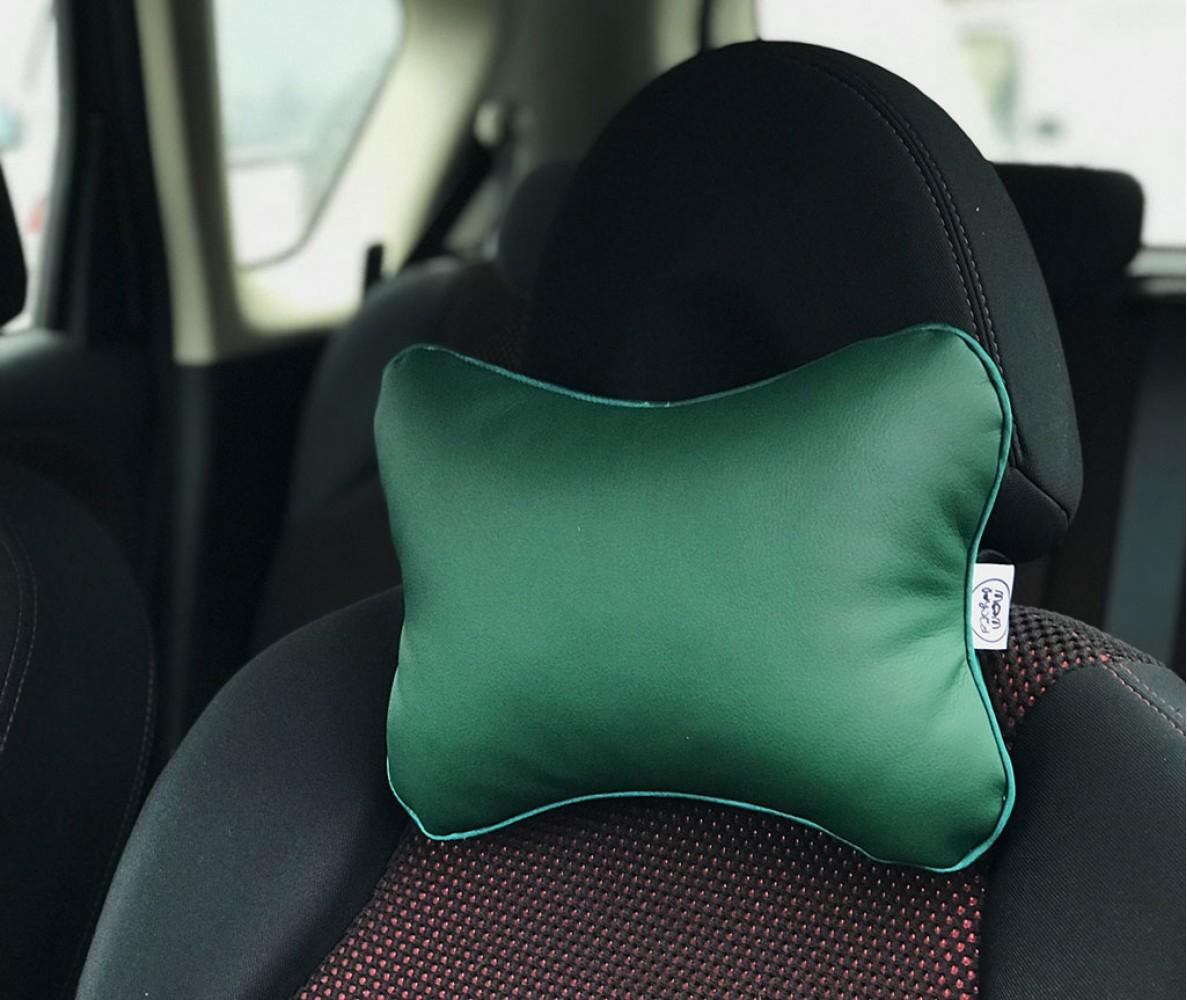 Подушка для шеи на подголовник в машину  | зеленая