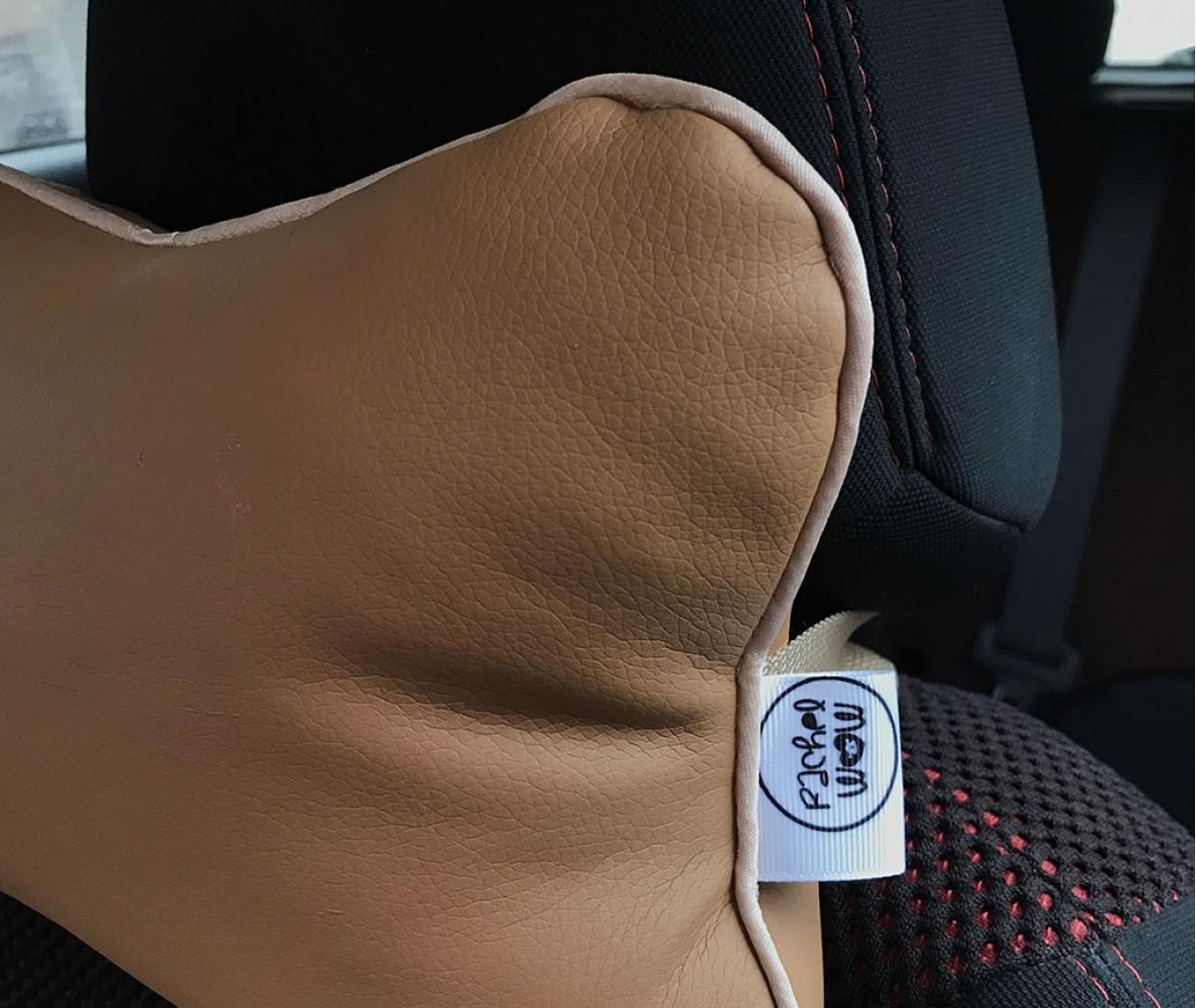 Подушка для шеи на подголовник в машину    песочная