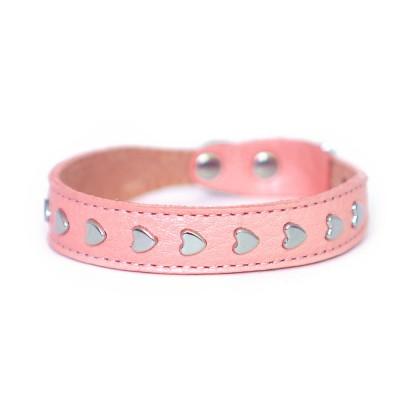 Ошейник  для маленьких собак и кошек |  с сердечками, розовый  | 1 см x 20-24 см | XS