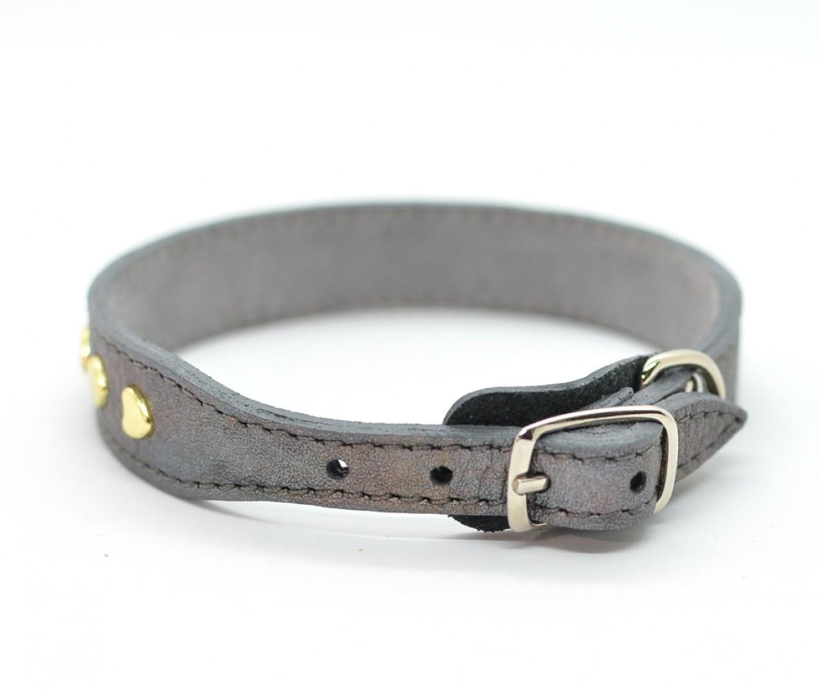 """Ошейник кожаный для маленьких собак и кошек """"Сердчки"""" Woofy, с расширением, цвет серебро    23-25 см"""