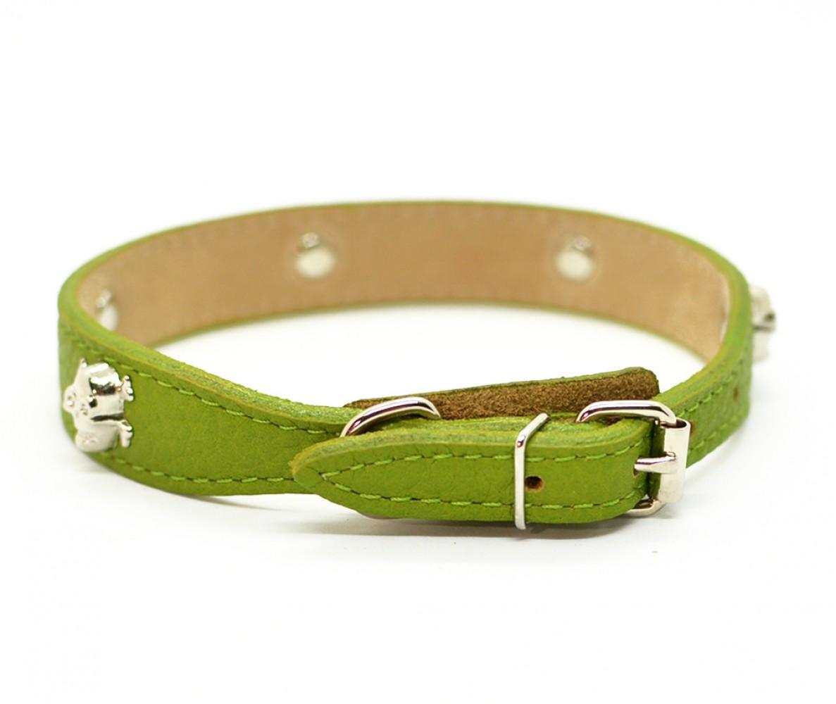 """Ошейник кожаный для маленьких собак и кошек """"Черепа"""" Woofy, с расширением, цвет зеленый    24-28 см"""