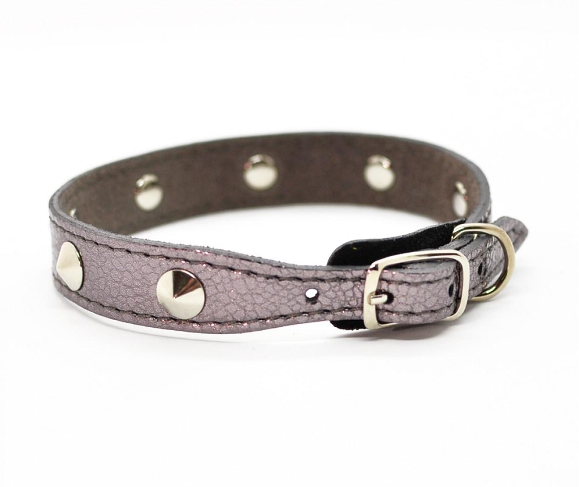 Ошейник кожаный для маленьких собак и кошек Woofy, с расширением, цвет бронзовый    24-28 см