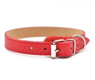 Ошейник кожаный, красный | 24-26 см