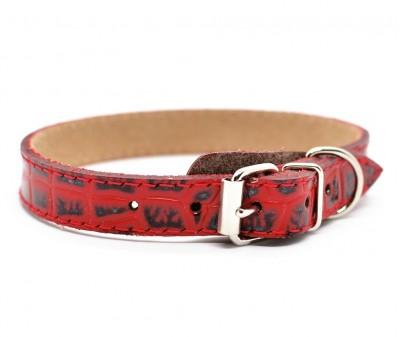 Ошейник кожаный, красный с тиснением | 24-26 см