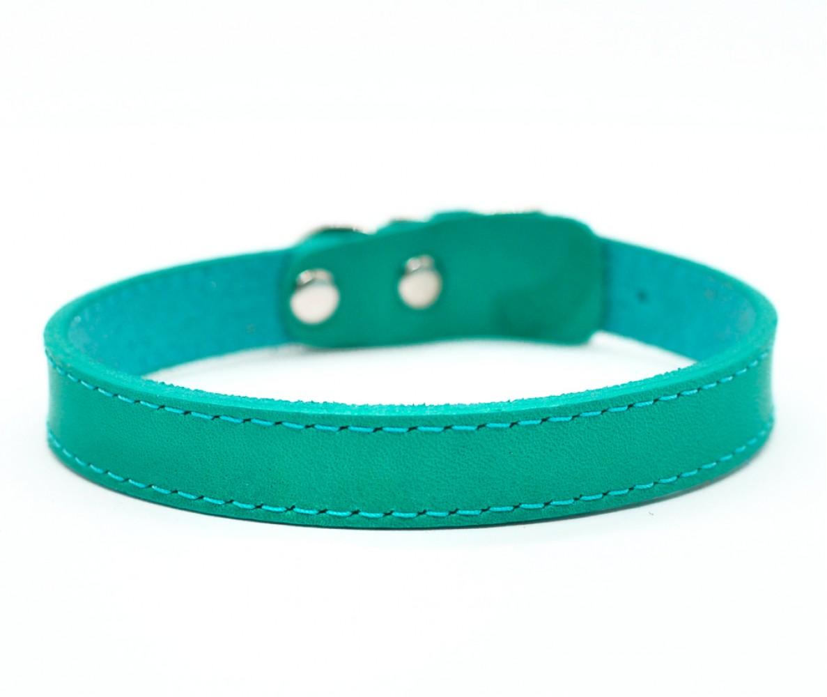 Ошейник кожаный для маленьких собак и кошек Woofy,  цвет изумрудный  | 24-26 см