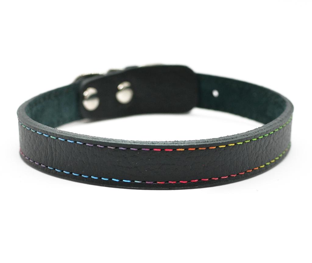 """Ошейник кожаный для маленьких собак и кошек """"Радуга"""" Woofy,  цвет черный    24-26 см"""