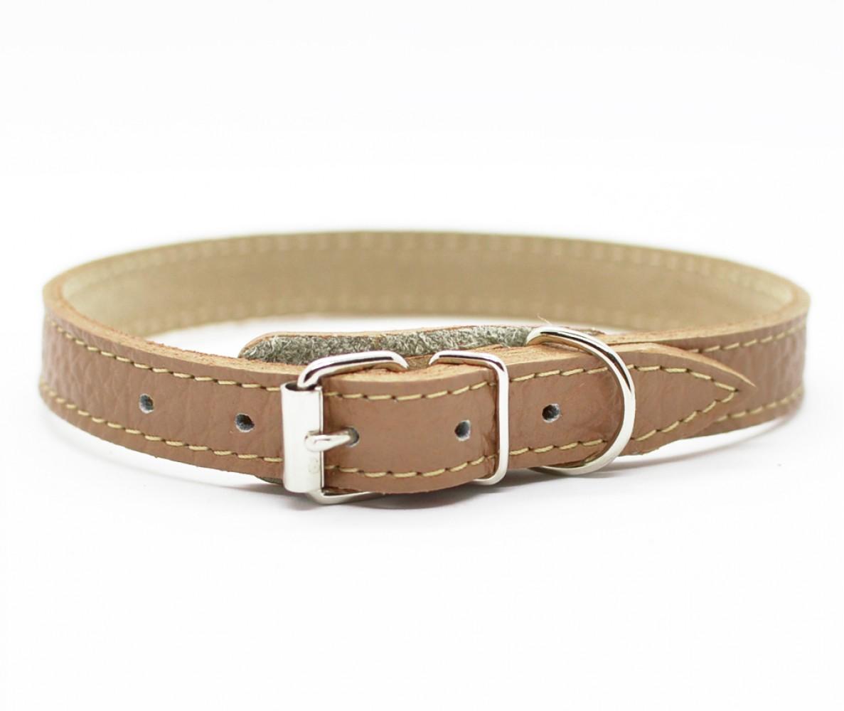 Ошейник кожаный для маленьких собак и кошек Woofy, цвет сафари    25-28 см