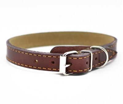 Ошейник кожаный, коричневый | 25-28 см