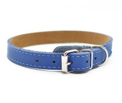 Ошейник кожаный, синий | 25-28 см