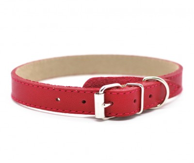 Ошейник кожаный, темно-красный | 25-28 см
