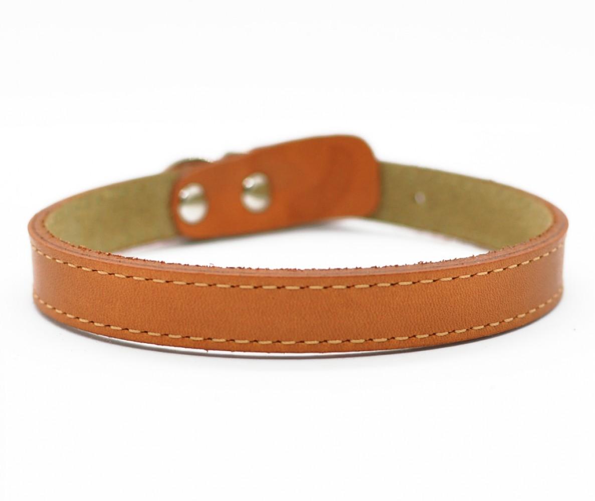 Ошейник кожаный для маленьких собак и кошек Woofy,  цвет рыжий    25-28 см