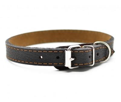 Ошейник кожаный, темно-коричневый | 25-28 см
