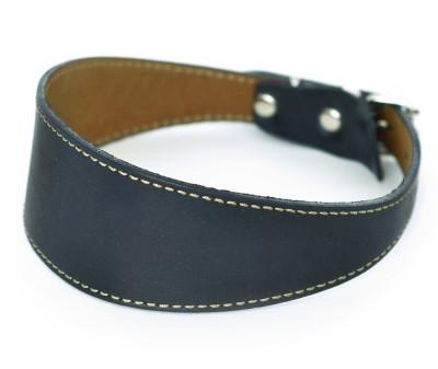 Ошейник селедка  кожаный для собак  черный  | ширина 3 см / 25-30 см