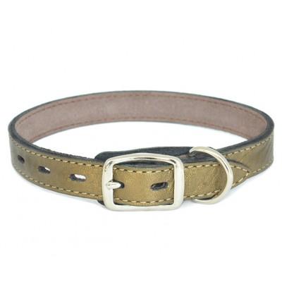 Ошейник кожаный бронзовый  | 1,7 см x 26-31 см | S