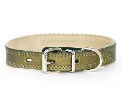 Ошейник кожаный бронзовый,  26-31 см | S