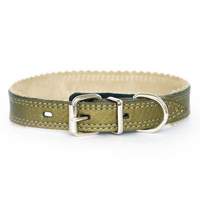 Ошейник для собаки кожаный бронзовый  | 2 см x 26-31 см | S
