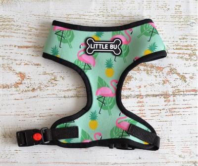 "Шлейка для маленьких собак ""Фламинго"", размеры XS-S"