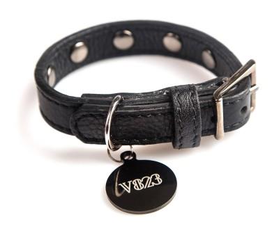 Ошейник для собаки кожаный с клепками V823  Черный     XS - XL