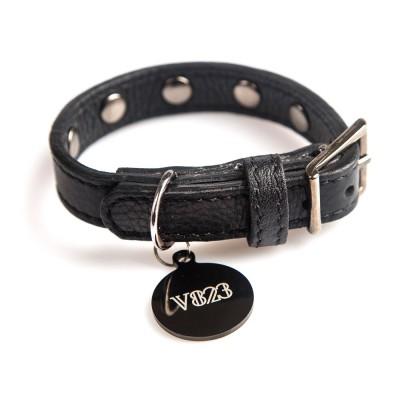 Ошейник для собаки кожаный с клепками V823  Черный  |  XS - XL