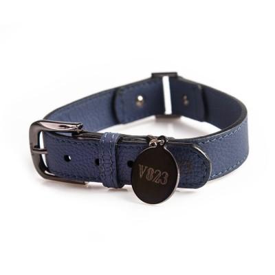 Ошейник для собаки кожаный V823 Синий  |  XS - XL