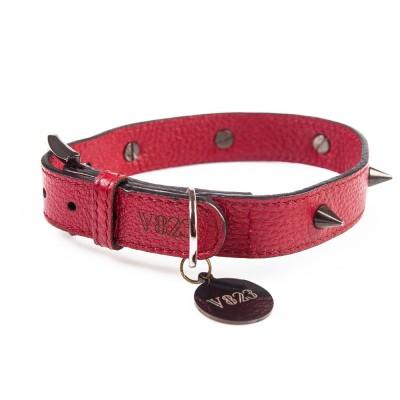 Ошейник для собаки кожаный с шипами V823  бордовый  |  XS - XL