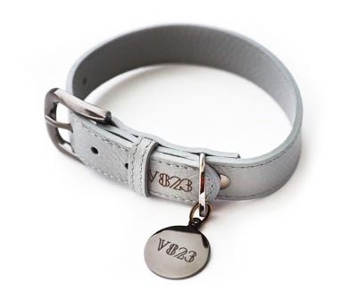 Ошейник для собаки кожаный V823 Серый     XS - XL