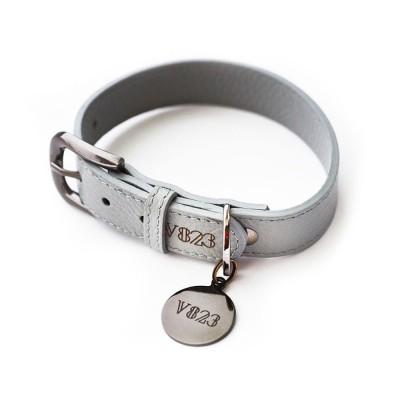 Ошейник для собаки кожаный V823 Серый  |  XS - XL