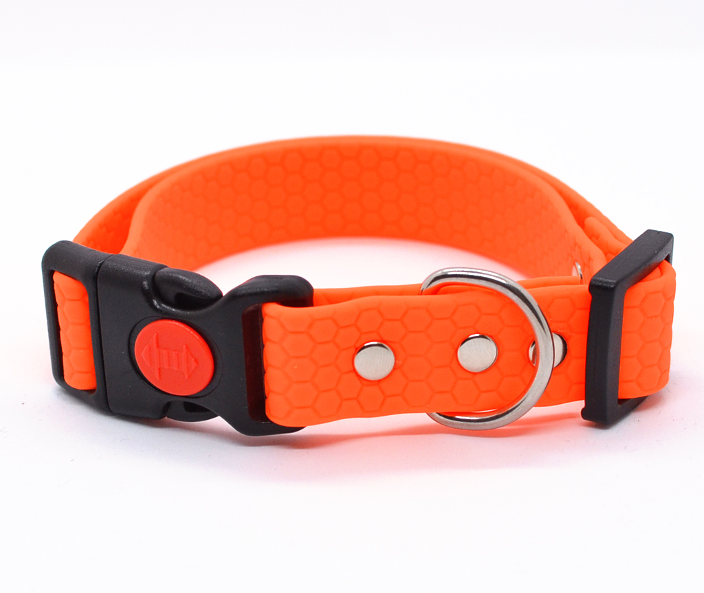 """Ошейник из биотана Dogbe """"Гекса"""" водостойкий, оранжевый  -  ширина 20 мм и 25 мм"""