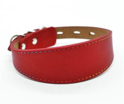Ошейник селедка кожаный, красный | ширина 3,5 см / 24-30 см