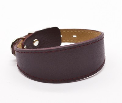 Ошейник селедка кожаный, темно-бордовый | ширина 3 см / 22-25 см
