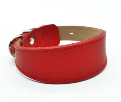 Ошейник селедка кожаный, красный | ширина 3 см / 22-25 см