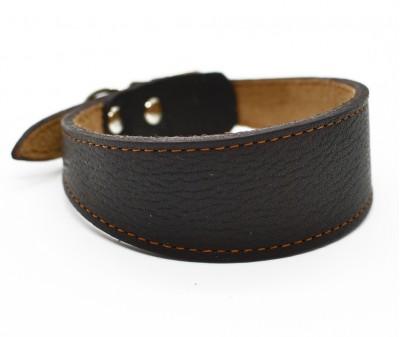 Ошейник селедка кожаный, коричневый | ширина 3 см / 25-28 см