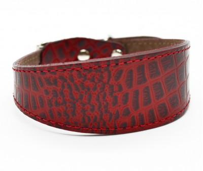 Ошейник селедка кожаный, красный | ширина 3,5 см / 25-30 см