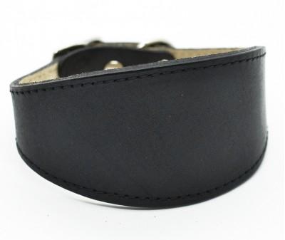 Ошейник селедка кожаный, черный | ширина 5 см / 26-28 см