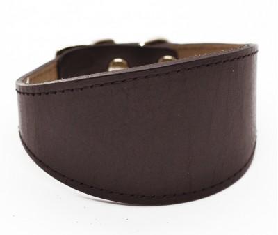 Ошейник селедка кожаный, шоколадный | ширина 5 см / 26-28 см