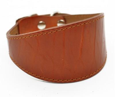 Ошейник селедка кожаный, коричнево-рыжий | ширина 5 см / 26-28 см