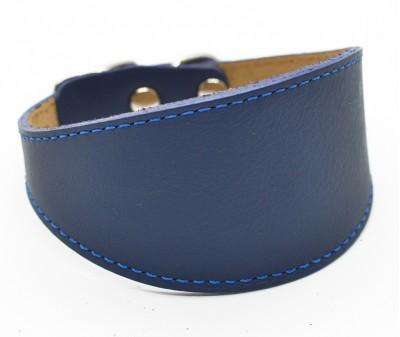 Ошейник селедка кожаный, синий | ширина 5 см / 26-28 см