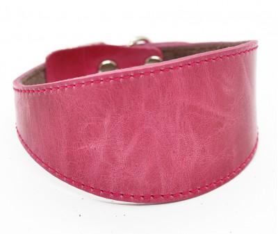 Ошейник селедка кожаный, тёмно-розовый | ширина 5 см / 26-28 см