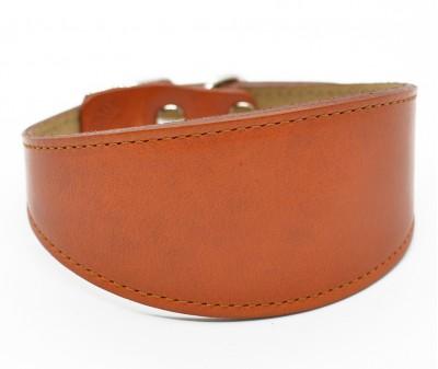 Ошейник селедка кожаный, рыжий | ширина 5 см / 28-35 см