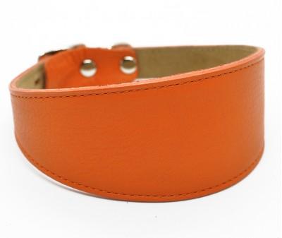 Ошейник селедка кожаный, оранжевый | ширина 5 см / 35-40 см
