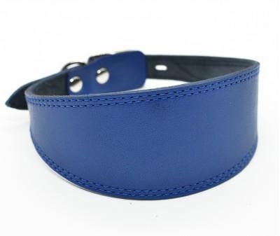 Ошейник селедка кожаный, синий | ширина 5 см / 35-40 см