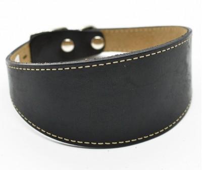 Ошейник селедка кожаный, черный с белой строчкой | ширина 5 см / 35-40 см