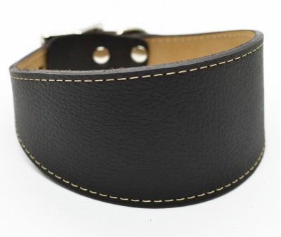 Ошейник селедка кожаный, черный с белой строчкой | ширина 6 см / 35-40 см
