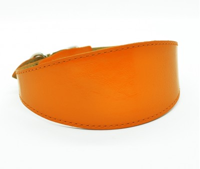 Ошейник селедка кожаный, оранжевый | ширина 5 см / 28-35 см