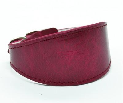 Ошейник селедка кожаный, вишневый | ширина 5 см / 25-30 см